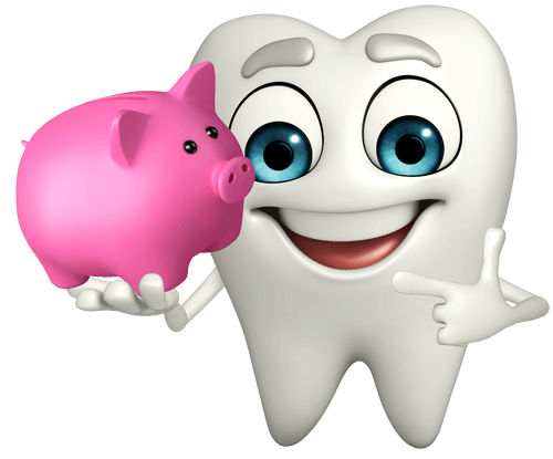 tooth with piggy bank